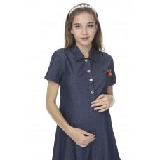 5114 Hamile Kot Yakası Broşlu Elbise