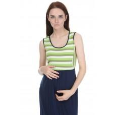 Hamile Çizgili Uzun Koton Elbise