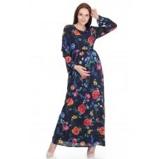 Hamile Çiçek Desenli Tesettür Elbise