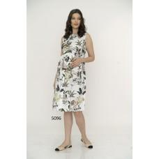 5096 Hamile Çiçek Desenli Empirme Elbise