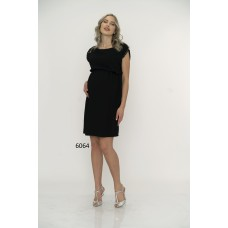 6064 Hamile Kol Nakıllı Krep Elbise