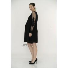 6065 Hamile Kolu Nakışlı Krep Elbise